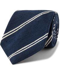 Kingsman - + Drake's 8cm Striped Slub Silk Tie - Lyst