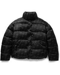 Balenciaga Padded Quilted Logo-print Shell Jacket - Black