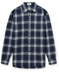CELINE HOMME Checked Wool-flannel Shirt - Blue