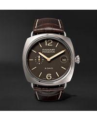 Officine Panerai - Radiomir 8 Days Titanio 45mm Brushed-titanium And Alligator Watch - Lyst