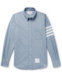 Thom Browne Button-down Collar Striped Cotton-flannel Shirt - Blue