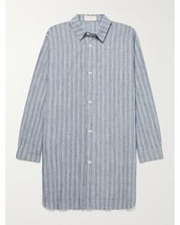 SMR Days Agadir Oversized Striped Slub Cotton-blend Jacquard Shirt - Blue