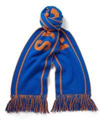 The Elder Statesman - - Nba Knicks Fringed Intarsia Cashmere Scarf - Blue - Lyst