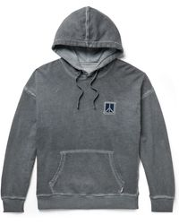Saturdays NYC Grande Peace Embroidered Pigment-dyed Loopback Cotton-jersey Hoodie - Grey