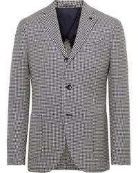Lardini Navy Houndstooth Wool, Linen And Silk-blend Blazer - Blue