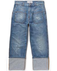 Loewe - Distressed Denim Jeans - Lyst