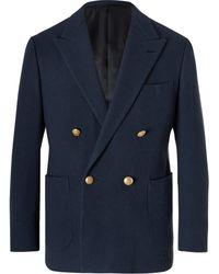 Camoshita Double-breasted Wool Blazer - Blue