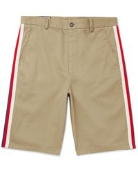 Gucci Webbing-trimmed Cotton-twill Bermuda Shorts - Natural