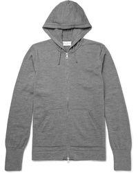 Officine Generale Merino Wool Zip-up Hoodie - Gray