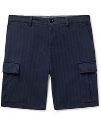 Brunello Cucinelli Herringbone Stretch-cotton Cargo Shorts - Blue