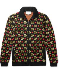 Gucci Logo-jacquard Cotton Zip-up Cardigan - Black