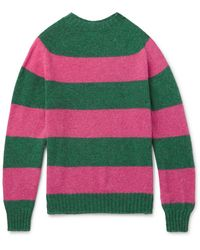 Aimé Leon Dore + Drake's Striped Wool Jumper - Pink