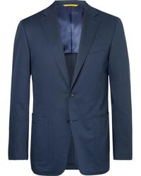 Canali - Navy Kei Slim-fit Cotton-blend Suit Jacket - Lyst