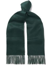 Johnstons - Fringed Checked Cashmere Scarf - Lyst