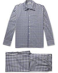 Sleepy Jones Henry Piped Gingham Cotton-poplin Pajama Set - Blue