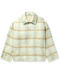 AURALEE Checked Brushed Wool And Alpaca-blend Jacket - Multicolor