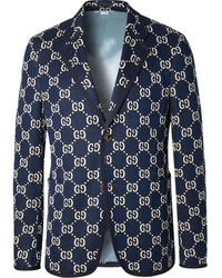 Gucci Navy Logo-jacquard Cotton Blazer - Blue