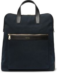 Paul Smith Leather-trimmed Canvas Tote Bag - Blue
