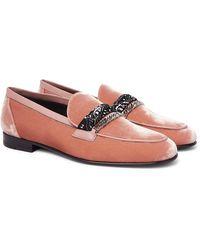 Amiri Embellished Leather-trimmed Cotton-velvet Loafers - Pink