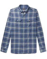 Tom Ford Button-down Collar Checked Brushed-cotton Shirt - Blue