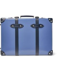 """Globe-Trotter 20"""" Leather-trimmed Carry-on Suitcase - Blue"""