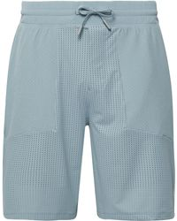 lululemon athletica Step Back Jump Layered Stretch-mesh And Jersey Drawstring Compression Shorts - Blue