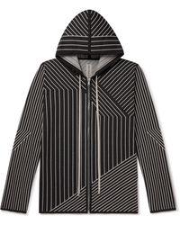 Rick Owens Jason Striped Virgin Wool-blend Zip-up Hoodie - Black