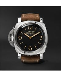Officine Panerai | Luminor 1950 Left-handed 3 Days 47mm Stainless Steel And Leather Watch | Lyst