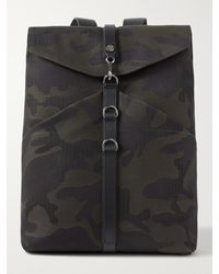 Mismo Leather-trimmed Camouflage-jacquard Canvas Backpack - Green