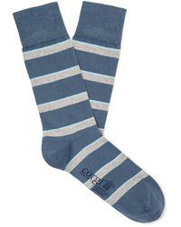 Kingsman Corgi Striped Cotton-blend Socks - Blue