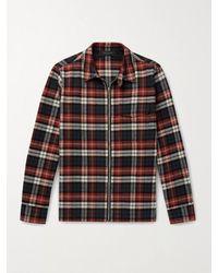 Rag & Bone Henry Checked Brushed Cotton-flannel Overshirt - Orange