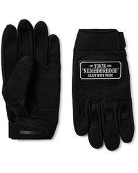 Neighborhood Motocross Neoprene-trimmed Mesh And Faux-suede Gloves - Black