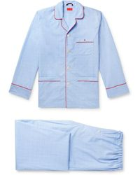 Isaia Piped Prince Of Wales Checked Cotton Pyjama Set - Blue