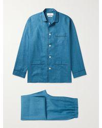 Turnbull & Asser Modern Piped Linen Pyjama Set - Blue
