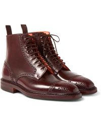 George Cleverley - Toby Cap-toe Horween Shell Cordovan Leather Brogue Boots - Lyst
