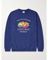 Vetements Printed Cotton-blend Jersey Sweatshirt - Blue