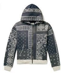 Kapital Bandana-print Cotton-jersey And Quilted Shell Zip-up Hoodie - Black