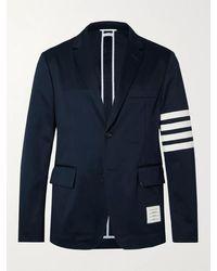 Thom Browne Slim-fit Unstructured Striped Cotton-twill Blazer - Blue