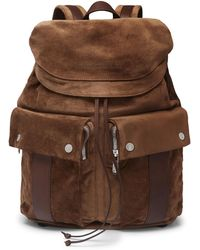 Brunello Cucinelli - Leather-trimmed Suede Backpack - Lyst