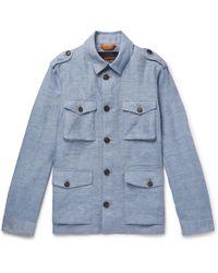 Tod's Mélange Linen Overshirt - Blue