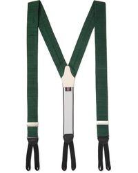 Favourbrook Leather-trimmed Silk-dupioni Braces - Green