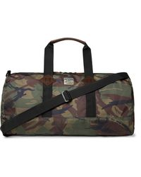 Polo Ralph Lauren Leather-trimmed Camouflage-print Shell Holdall - Green