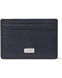 BOSS by HUGO BOSS Card Holder In Italian Leather With Metal Money Clip - Blue