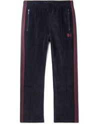 Needles Logo-embroidered Webbing-trimmed Cotton-blend Velour Track Trousers - Blue