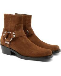 Balenciaga - Suede Harness Boots - Lyst