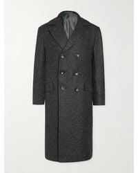 Kiton Double-breasted Cashmere-tweed Coat - Grey
