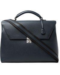 Valextra Pebble-grain Leather Briefcase - Blue