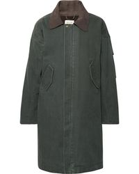 Fear Of God Oversized Suede-trimmed Faux Shearling-lined Canvas Coat - Green