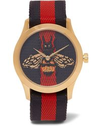 Gucci - Gold-tone And Striped Webbing Watch - Lyst