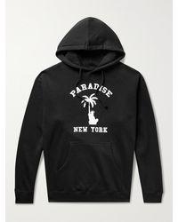 Paradise Liberty Palm Printed Fleece-back Cotton-blend Jersey Hoodie - Black